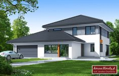 Design of house with a garage for 2 cars. It povides space for additional service or office, that is separated from the main building. This is an energy saving building. Home Building Design, Home Design Plans, Building A House, Round House Plans, Sims House Plans, 2 Storey House, Bungalow House Design, Small Buildings, Bedroom House Plans