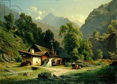 Blacksmith's House in a Valley, 1857 (oil on canvas)