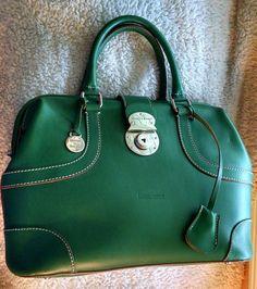 DOONEY & BOURKE Alto Green Leather Domed Doctor Satchel Handbag W/Lock & Key