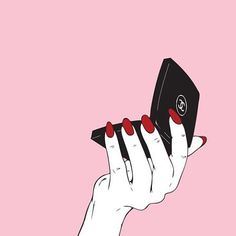 Trendy Makeup Brushes Illustration Make Up Makeup Wallpapers, Cute Wallpapers, Pink Wallpaper, Iphone Wallpaper, Arte Dope, Moon Spells, Hand Art, Mo S, Red Nails