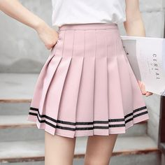 Summer Pleated Tennis Skirts sold by Aesthetics Shop . Shop more products from Aesthetics Shop on Storenvy, the home of independent small businesses all over the world. Pleated Tennis Skirt, Tennis Skirts, Stripe Skirt, Pleated Skirts, Women's Mini Skirts, Cute Skirts, Skirt Fashion, Fashion Outfits, Mode Kawaii