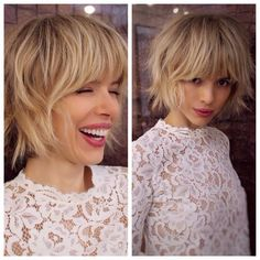 Short Textured Bob with Bangs for Fine Hair