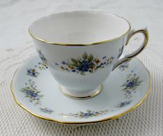 Colclough Pale Blue Tea Cup and Saucer with Small Blue and Orange Flowers, Vintage Bone China
