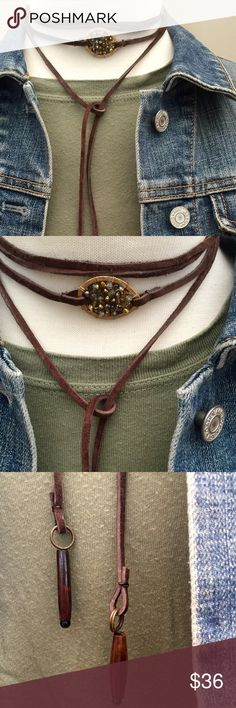 Leather wrap necklace / choker Brown leather suede lace wrap necklace with bead middle and wood accents on the end. Handcrafted Jewelry Necklaces