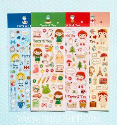 Cute stickers for cute girls! Kawaii Stickers, Cute Stickers, Cute Stationery, Stationary, Tea Art, Tarts, Cute Girls, Shop, Mince Pies