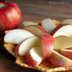 Soak sliced apples in sprite for 3-5 min to prevent them from turning brown for up to a week!  Can't wait to try.