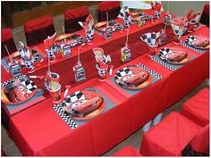 ideas for cake disney cars party favors Pixar Cars Birthday, Race Car Birthday, Race Car Party, Birthday Party Tables, Cars Birthday Parties, Birthday Party Decorations, 3rd Birthday, Birthday Ideas, Birthday Cakes