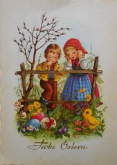Herzliche Ostergrusse, Easter, Young Boy & Girl With Chick and Eggs, 1962 Easter Greeting Cards, Vintage Greeting Cards, Decoupage, Easter Bunny Pictures, Vintage Halloween Cards, Easter Art, Easter Printables, Vintage Easter, Vintage Postcards
