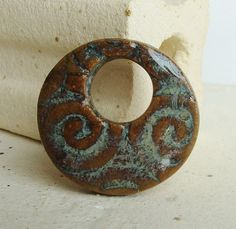 Feathery Swirl Ceramic Pendant in Aztec Turquoise by Artgirl56, $12.50