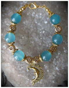 Handmade Gold Bracelet with Blue Topaz & Flowers by IreneDesign2011 in my Etsy shop https://www.etsy.com/listing/179707348