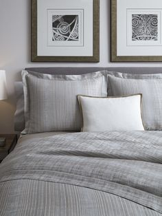 Like the impeccable lines of a Savile Row bespoke suit, this yarn-dyed jacquard bedding set is at once clean and tailored and reminiscent of a vintage cloth. Variations of blue, grey and taupe easily complement a wide range of bedroom color palettes.