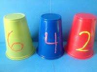 Maths cups - ordering numbers-could write larger numbers on cups for older grades. Could use with individual numbers for place value too! Preschool Math, Math Classroom, Kindergarten Classroom, Fun Math, Teaching Math, Teaching Ideas, Classroom Ideas, Number Activities, Math Games