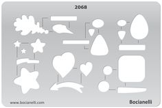 2068 Art and Craft Design Template Stencil for Jewellery Making Drawing and Drafting - Toggles Heart Leaf Arrow