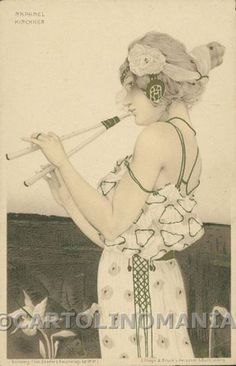 Art Nouveau Raphael Kirchner CORNER CREASE postcard cartolina RK043