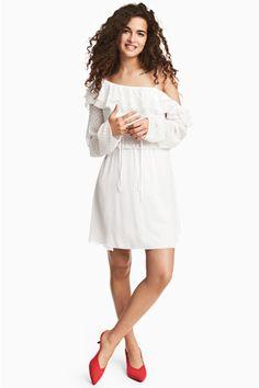 Платье на одно плечо - Белый/Горошек - Женщины   H&M RU 1