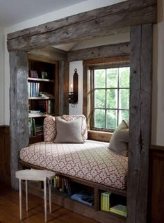 This is a beautiful rustic window seat/bed!!!