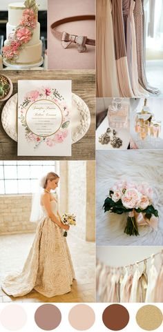 elegant neutral wedding color palettes in shades of blush brown and gold