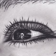 Original Realism Charcoal Drawing of Eye with Skull Pupil
