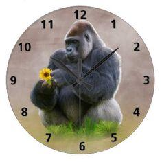 Gorilla and Yellow Daisy Large Clock