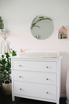 Change knobs on Ikea dresser for changing table Blush girls nursery | Wedding & Party Ideas | 100 Layer Cake
