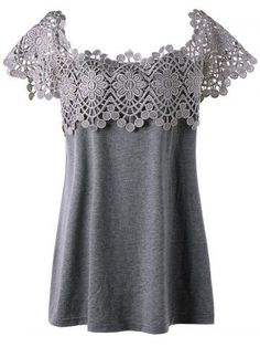 GIYI Plus Size Women Clothes Sexy Lace Crochet Trim Cutwork Blouse Shirt Female Hollow Out Oversized Top Big Size Blusas Sewing Clothes, Crochet Clothes, Diy Clothes, Fashion Clothes, Style Clothes, Dress Fashion, Plus Size Fashion For Women, Plus Size Women, Basic Outfits