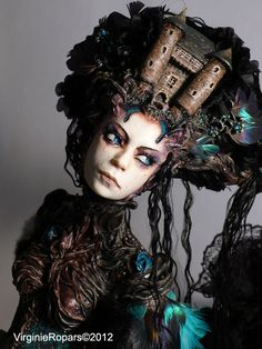 Amazing Gothic, dark, fantasy, avant garde, couture castle brown, copper headpiece and tree root, vine top with aqua, turqoise, teal, blue, purple feather accents