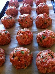 Incredible Baked Meatballs. Sound Yummy!  -1lb hamburger, 2 eggs, beaten with 1/2 cup milk  1/2 cup grated Parmesan  1 cup panko or bread crumbs  1 small onion, minced or grated    2 cloves garlic, minced (to taste)  1/2 teaspoon oregano  1 teaspoon salt  freshly ground pepper to taste  1/4 cup minced fresh basil    ~Mix all ingredients with hands. Form into golfball sized meatballs. Bake at 350 degrees for 30 minutes.