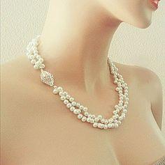 Bridal Pearl Necklace, Custom Bridal Wedding Jewelry for Brides Bridesmaids, Rhinestone Closure