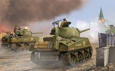 Arte, sherman, m4a3, atrasado, médio, médio, batalha de tanques, chamas da guerra, o, segunda guerra mundial