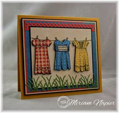 handcrafted card from Miriam's Delirium ... three dress on a line ... paper pieced and fussy cut ... luv how she used printed papers that look like small gingham prints ... Serendipity ...