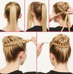 """coiffure facile printemps chignon tressé """" Hairstyles, Weaving girlish braids was relevant almost at all times. Hairstyle heart – one of the most popular of its variations. Braided Bun Hairstyles, No Heat Hairstyles, Girl Hairstyles, Wedding Hairstyles, Braided Buns, Braided Ponytail, Hairstyles Pictures, Simple Hairstyles, Amazing Hairstyles"""