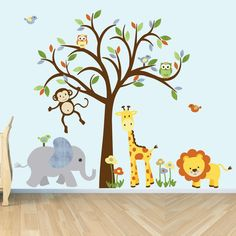 Wall Decal Jungle Animal sticker nursery door StickItDecalDesigns