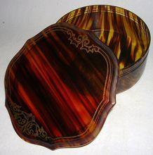 Vintage Celluloid Faux Tortoise Shell Dresser Box