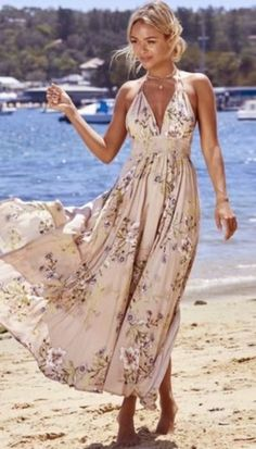 V Neck Sleeveless Backless Floral Printed Maxi Bohemian Dress Boho Fashion, Fashion Dresses, Womens Fashion, Fashion Clothes, Style Fashion, Cheap Dresses, Summer Dresses, Maxi Dresses, Backless Dresses