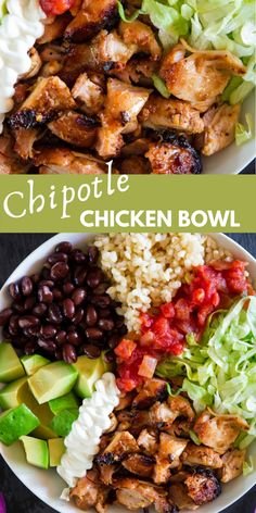 This Homemade Chipotle Chicken Bowl is loaded with juicy grilled chicken and all of your favorite burrito bowl toppings. It's such a perfect summer meal. Easy Summer Meals, Healthy Summer Recipes, Easy Dinner Recipes, Summer Dinner Ideas, Summer Food, Chipotle Chicken Bowl, Chipotle Burrito Bowl, Burrito Bowls, Homemade Chipotle