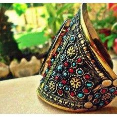 Afghan Tribal Kuchi Bracelet - Cuff Cuff Bracelets, Bangles, Gypsy Bracelet, Tribal Art, Natural Gemstones, Jewelry Crafts, Captain Hat, Folk, Hats