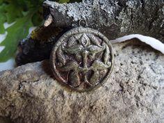 Ceramic Pendant Ancient Hungarian Motif raku by BlueBirdyDesign, Tea Culture, Tin Containers, Ceramic Pendant, I Shop, Pendants, Pottery, Buttons, Ceramics, Etsy