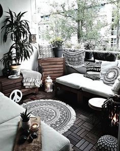 Image may contain: People sitting, living room, table and interior – Sophie Schäfchen - All For Garden Small Balcony Decor, Balcony Design, Balcony Ideas, Deco Boheme Chic, Balcony Furniture, Small Apartments, Apartment Living, Living Room Decor, House Design