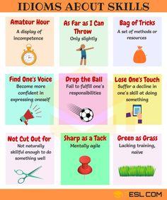 Skill Idioms: 10 Useful Phrases & Idioms About Skills - 7 E S L English Idioms, English Vocabulary Words, English Phrases, Learn English Words, English Lessons, English Grammar, Learn Spanish, English Vinglish, Speak Spanish