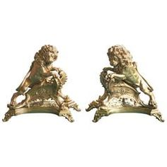 Exceptional Pair of 19th Century French Lion-Form Gilt Bronze Chenet