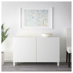 BESTÅ Storage combination with doors - white, Selsviken high-gloss/white - IKEA At Home Furniture Store, Modern Home Furniture, Soft Closing Hinges, Frame Shelf, Ikea Family, Interior Barn Doors, Interior Accessories, Custom Wood, Wood Doors