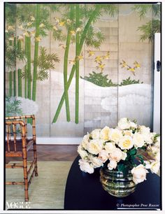 On the wall of her Sydney apartment, designer Sarah Davison has mounted a hand-painted, vintage Chinoiserie screen found in California.    From 'Mission Statement', a story on page 88 of Vogue Living Mar/April 2010.