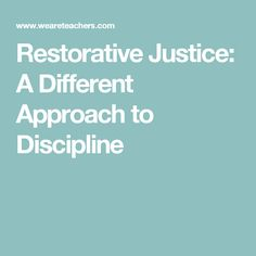 Restorative justice is a student accountability approach that lets the offender be a part of the solution. According to this article, offenders who take responsibility to correct their wrong doings are more inclined to learn from their mistakes.  Owning your mistakes are  a direct reflection of your maturity level. By teaching students that a consequence isn't always the solution, but rather creating a trusting relationship solves and prevents defiance and teaches integrity.