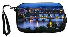 UKBK Prague At Night - Bridge on River - Neoprene Clutch Wristlet with Safety Closure - Ideal case for Camera, Cell Phone, Gameboy, Passport, Cosmetic Prague, Wristlets, Passport, Bridge, Safety, Closure, River, Night, Phone