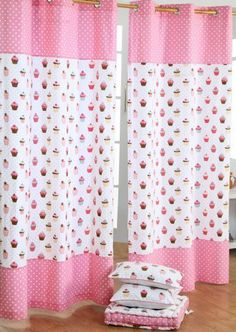 100% Cotton Cupcakes Ready Made Eyelet Curtain Pair
