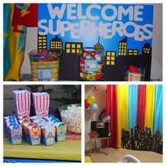 "Superhero party details: favor station, ""snap a photo of your superhero"" photo booth, snack station"