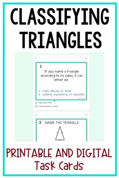 Classifying Triangles Task Cards: Printable and Digital for Distance Learning Upper Elementary Resources, Elementary Math, Math Resources, Math Tips, Teaching Numbers, Teaching Writing, Fifth Grade Math, Fourth Grade, Classifying Triangles