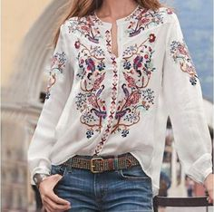 """Achieve the continental look of the well-traveled woman in this embroidered women tops. "" #embroideredlongsleevetops #womenlongsleevetops Tunic Shirt, Shirt Blouses, T Shirt, Denim Shirts, Denim Jeans, Casual Shirts, Tunic Tops, Long Sleeve Tops, Long Sleeve Shirts"