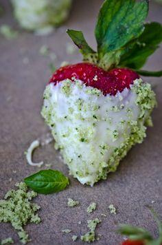 white chocolate strawberries with basilsugar