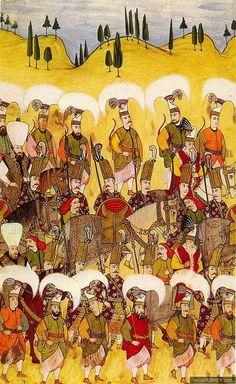 Ottoman Solaks (sultans guards) and Peiks (messengers) - Osmanlı dönemi Solaklar… Sultan Ottoman, Ottoman Turks, Turkish Army, Islamic Paintings, Triomphe, Ottoman Empire, Illuminated Manuscript, Gravure, Islamic Art